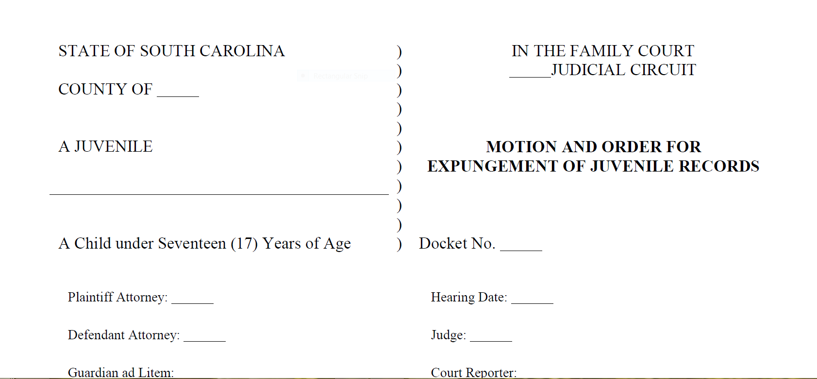 Revised South Carolina Juvenile Expungement Forms Available | The ...